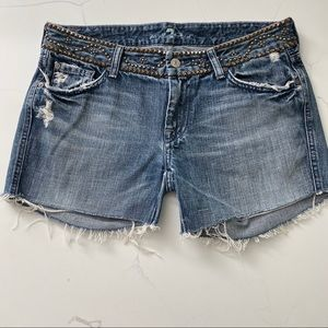 7 For All Mankind Distressed Denim Shorts size 30